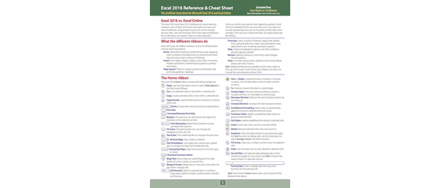Excel 2016 Cheat Sheet and reference