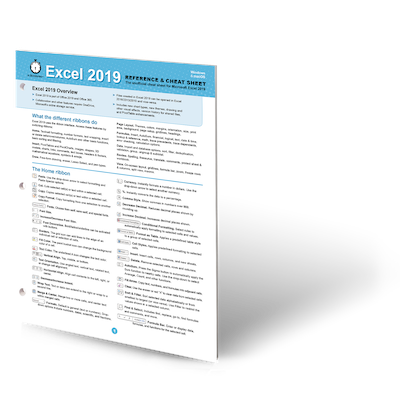 Excel 2019 printed cheat sheet